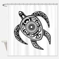 Black Hawaiian Turtle-2 Shower Curtain