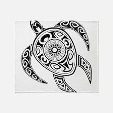 Black Hawaiian Turtle-2 Throw Blanket