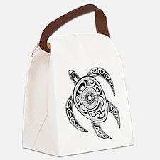 Black Hawaiian Turtle-2 Canvas Lunch Bag