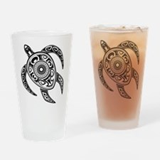 Black Hawaiian Turtle-2 Drinking Glass