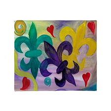 Mardi Gras tripple fleur de lis art Throw Blanket