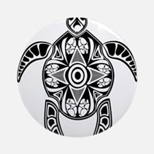 Black Hawaiian Turtle-4 Ornament (Round)