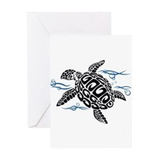 Swimming Black Turtle Greeting Cards