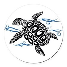 Swimming Black Turtle Round Car Magnet
