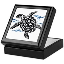 Swimming Black Turtle Keepsake Box