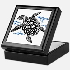 Swimming Black Turtle Keepsake Box