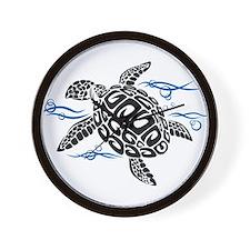 Swimming Black Turtle Wall Clock