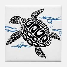 Swimming Black Turtle Tile Coaster