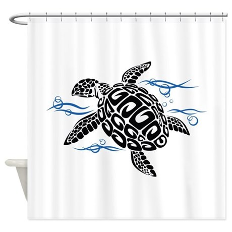 Swimming black turtle shower curtain by underthesea2 Swimming pool shower curtain