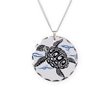 Swimming Black Turtle Necklace