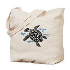 Swimming Black Turtle Tote Bag
