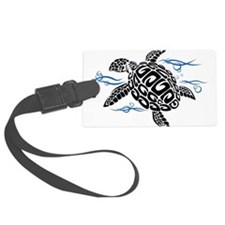 Swimming Black Turtle Luggage Tag