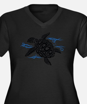 Swimming Black Turtle Plus Size T-Shirt