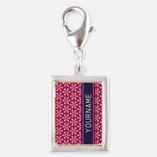 Pink Whimsical Flower Patter Silver Portrait Charm