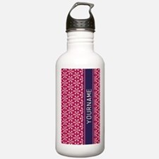 Pink Whimsical Flower Sports Water Bottle