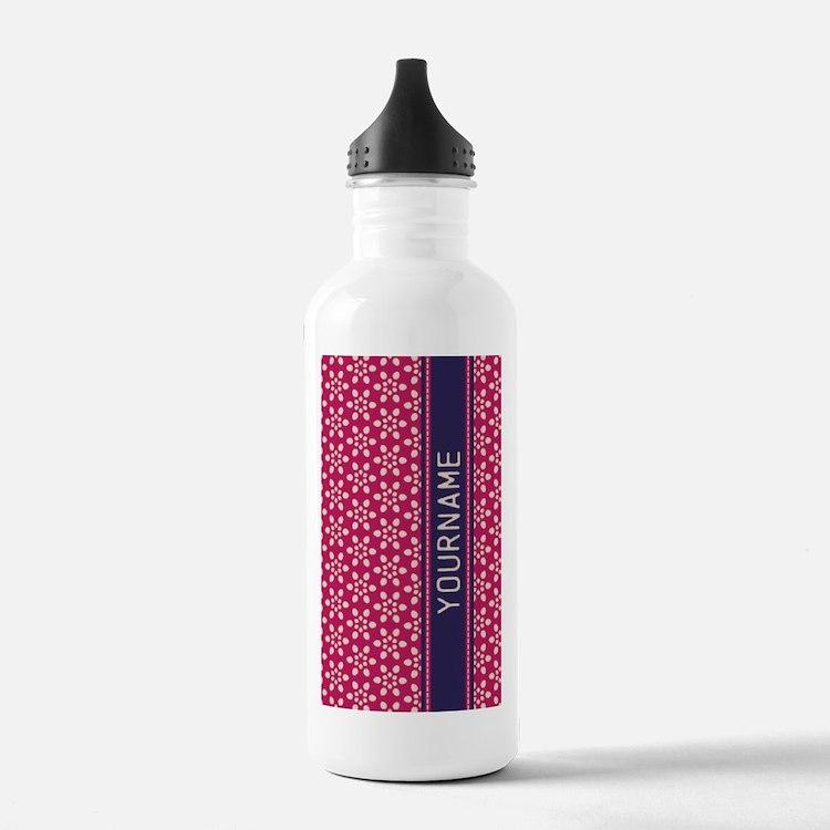 Pink Whimsical Flower Water Bottle