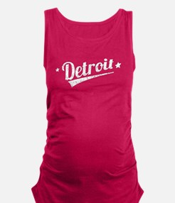 Distressed Retro Detroit Logo Maternity Tank Top