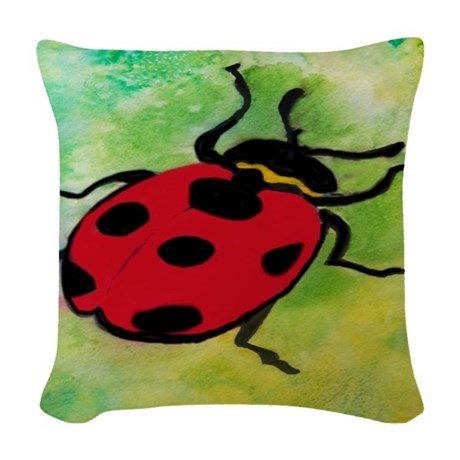 Lady Bug Woven Throw Pillow by bythebeach
