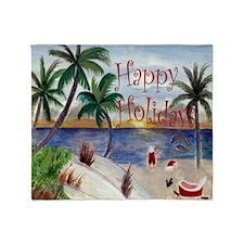 Santa's Beach Break art Throw Blanket