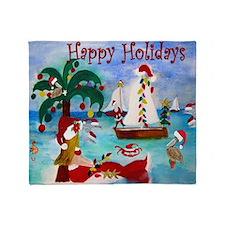 Holiday Santa Boat Parade Throw Blanket