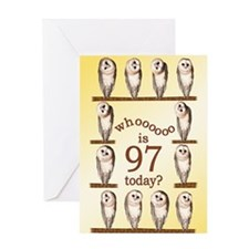 97th birthday with curious owls. Greeting Cards