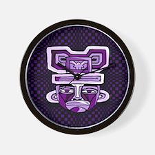 Purple Tiki Mask Wall Clock