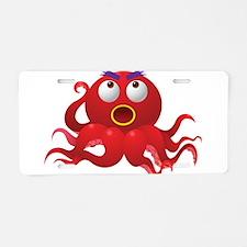Red Octopus Creature Aluminum License Plate