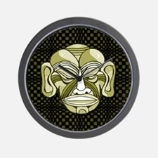Green Tiki Mask Wall Clock