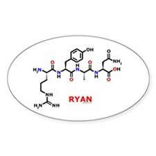Ryan name molecule Oval Decal