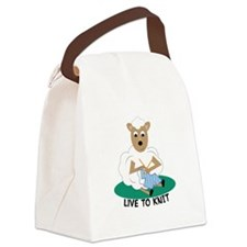 Live To Knit Canvas Lunch Bag