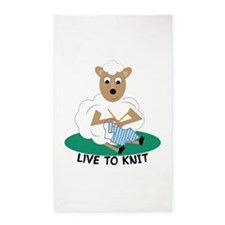 Live To Knit 3'x5' Area Rug