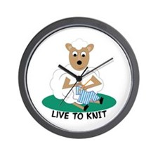 Live To Knit Wall Clock