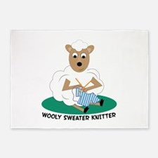 Wooly Sweater Knitter 5'x7'Area Rug