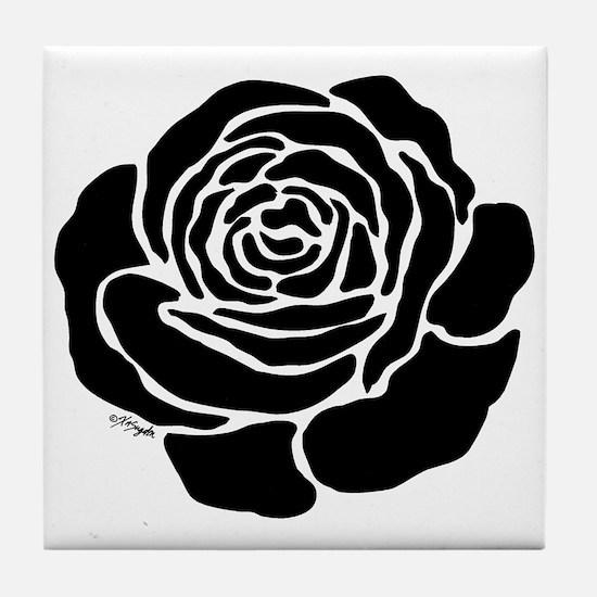 Cool Black Rose Tile Coaster