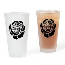 Cool Black Rose Drinking Glass