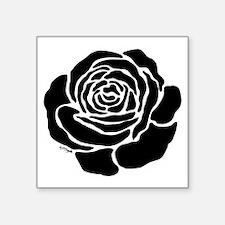 "Cool Black Rose Square Sticker 3"" x 3"""