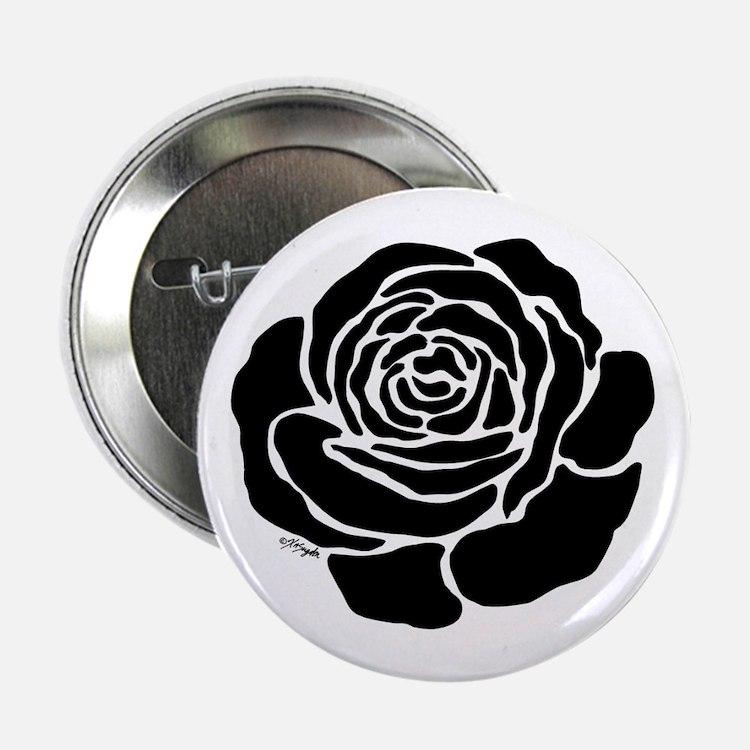 "Cool Black Rose 2.25"" Button"