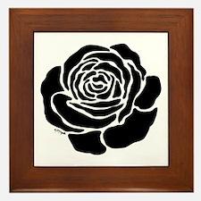Cool Black Rose Framed Tile