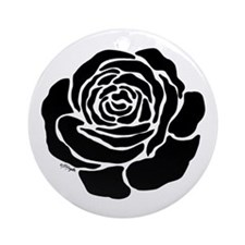 Cool Black Rose Ornament (Round)