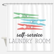 Stacked Clothespins Shower Curtain