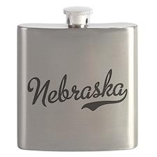 Nebraska Script Black Flask
