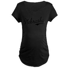 Nebraska Script Black T-Shirt