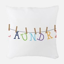 Laundry Hanging Woven Throw Pillow