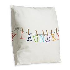 Laundry Hanging Burlap Throw Pillow