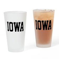 Iowa Jersey Black Drinking Glass