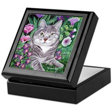Gray Tabby Cat Keepsake Box