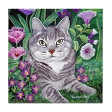 Gray Tabby Cat Tile Coaster