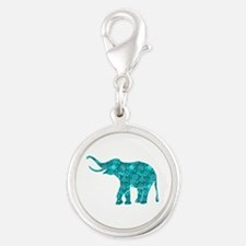 Blue-Green Retro Floral Elephant Charms