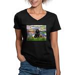 Lilies (2) & Schipperke Women's V-Neck Dark T-Shir