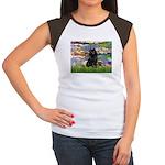 Lilies (2) & Schipperke Women's Cap Sleeve T-Shirt